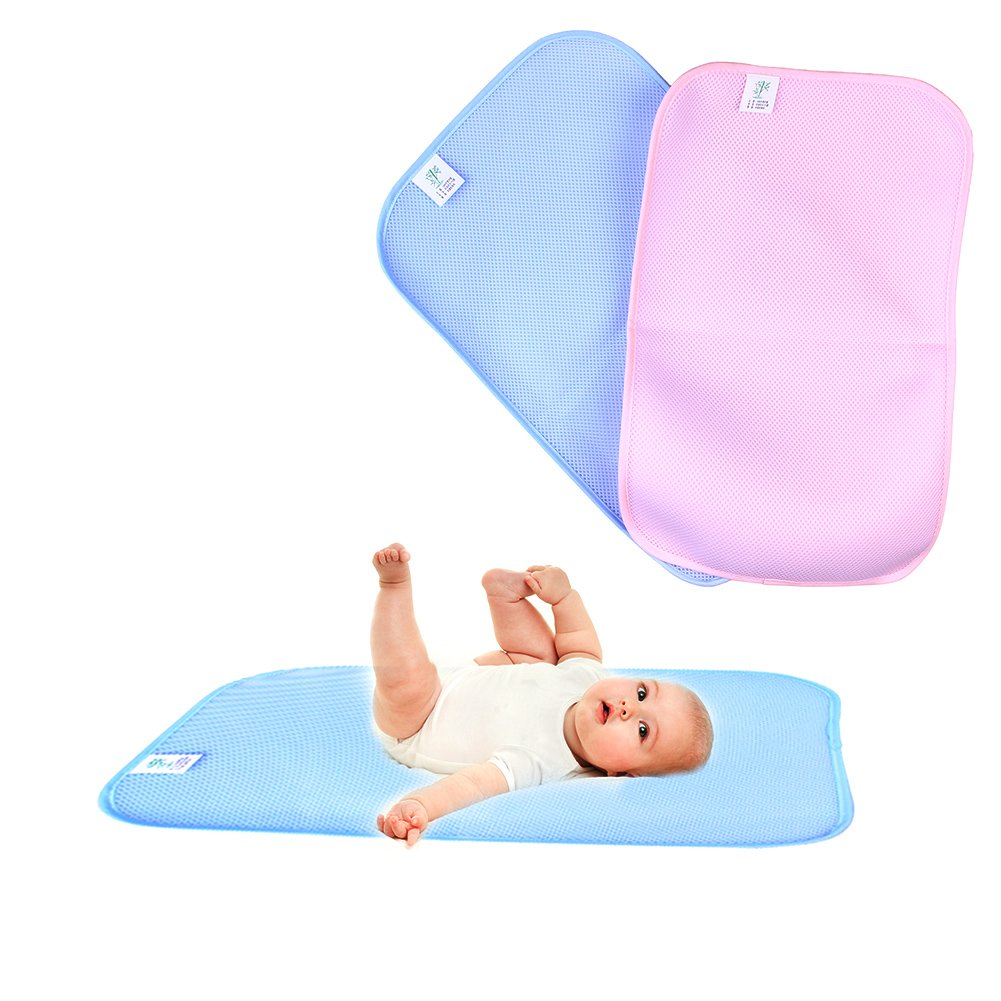 Bamboo Fiber Three-layer Sheet Ultra Waterproof Mattress Protector Incontinence Bed Pad for Toddler Children Adults M: 50x70cm, Blue Luerme Incontinence Bed Pad