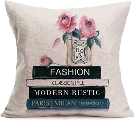 Throw Pillow Covers Perfume Bottle With Pink Flower Decor Pillowcase Cotton Linen Modern Decorative Pillow Case Square Cushion Cover For Home Sofa Couch 18 X 18 Perfume01 Home Kitchen
