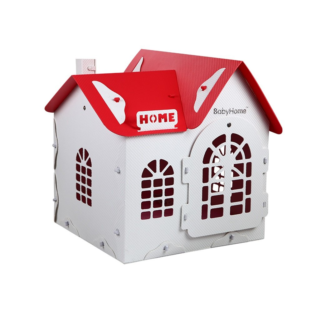 Red+white YQQ Kennel VIP Teddy Small Dog Schnauzer Dog House Closed Luxury Villa House Bite-proof Dog Supplies Cat Nest (color   Red+white)