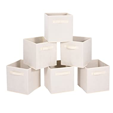 MaidMAX Cloth Storage Bin with Dual Handles for Home Closet Nursery Drawers Organizer, Foldable, Beige, 10.5×10.5×11″, Set of 6