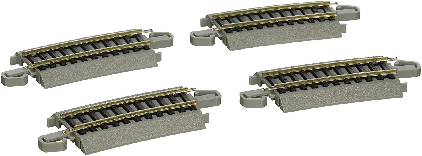 B0006KSN1C Bachmann Trains - Snap-Fit E-Z TRACK ONE-THIRD SECTION 18 RADIUS CURVED (4/card) - NICKEL SILVER Rail With Gray Roadbed - HO Scale 6153vEEIalL