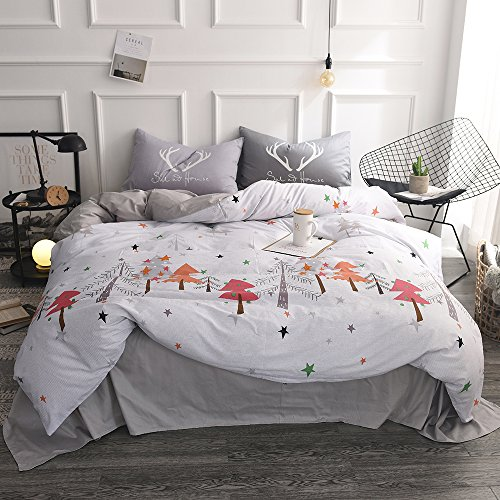 FenDie Pine Tree Printed Bedding Collections Queen Gray, Christmas Forest Duvet Cover Set with 2 Pillowcases, 100% Cotton, Warmth Durable (Christmas Tree Quilt)