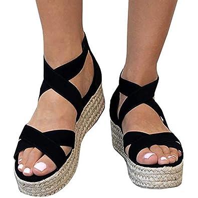 8fbdb88920 XMWEALTHY Women's Platform Wedges Heel Sandals Summer Strappy Open Toe  Espadrilles Sandals Black US 5.5