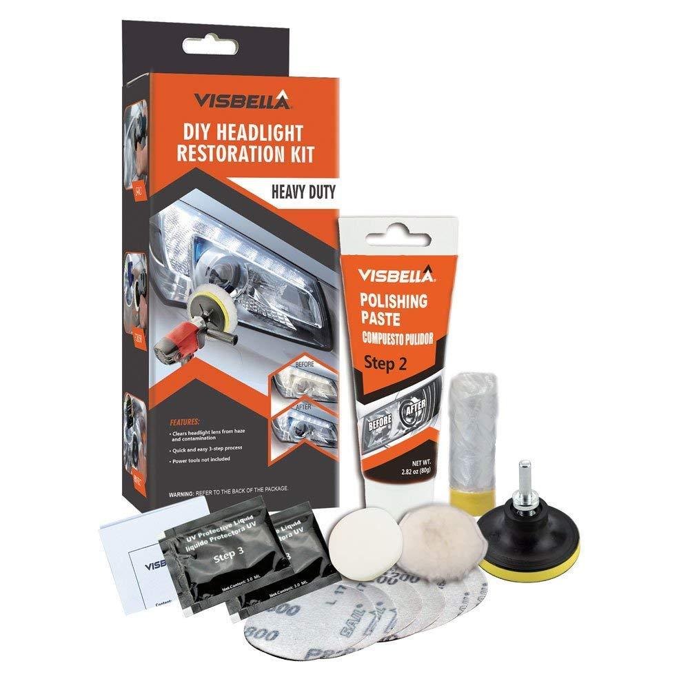 Visbella Kit de Restauració n de Lente de Faros del Coche Kit de Herramienta de Protecció n de Pulido de Restaurador Profesional