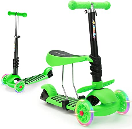 Toddler Scooter for Kids, WPHUAW 3 Wheel Kick Scooter for Girls and Boys Ages 2-8 Years Old, Safely Adjustable Height Extra-Wide Deck and Seat with PU Flashing Wheels Lightweight Children Scooter
