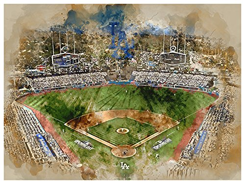 ATLAS Los Angeles Dodgers Poster Watercolor Art Print 12x16 Wall Decor