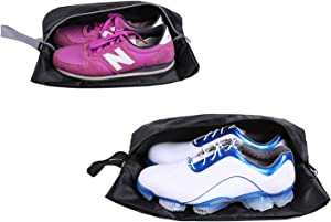 YAMIU Travel Shoe Bags Set of 2 Waterproof Nylon with Zipper for Men & Women (Black)