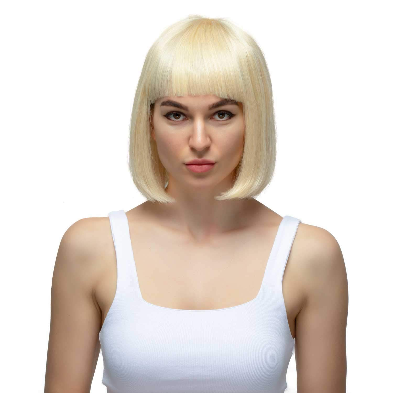 Short Bob Wigs Human Hair Blonde 613 with Bangs, Machine Made+Hand-Crocheted Hair Whorl White wig (12inch human hair wigs) Gold