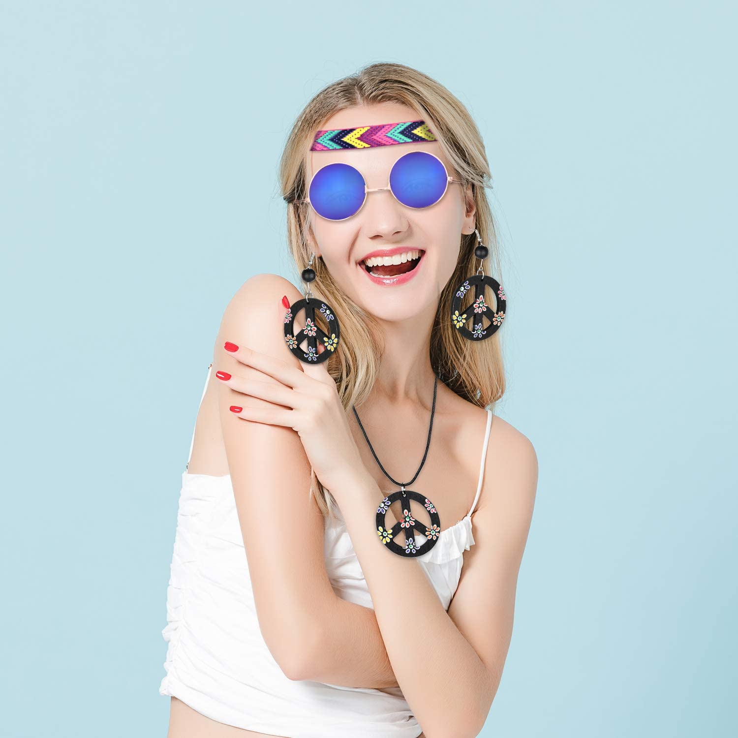 4 Pieces Hippie Accessory Set Hippie Style Peace Sign for Women /& Men Includes Hippie Sunglasses,Peace Sign Necklace,Headband,Peace Sign Earrings 60s or 70s Hippie Accessories