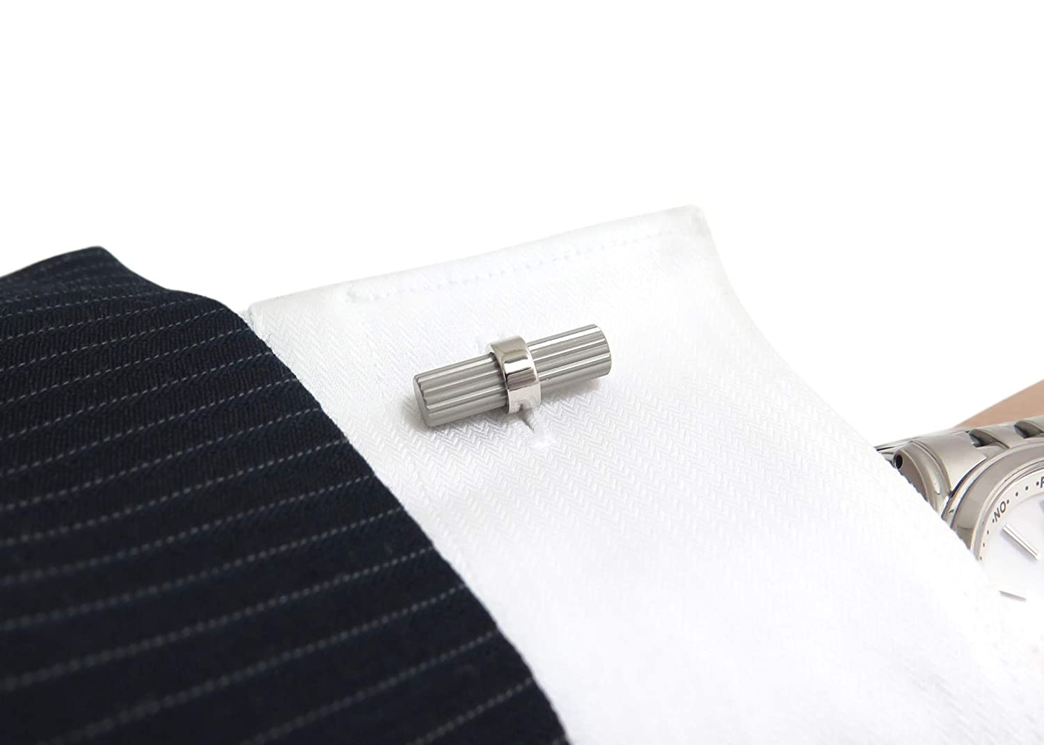 FB Jewels Solid 925 Sterling Silver Caducei Cuff Links