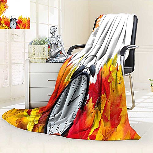 YOYI-HOME Plush Throw Duplex Printed Blanket Super Soft and Cozyand an Alarm Clock Fall Season Theme Romantic Digital Print White and Orange Blanket Perfect for Couch Sofa/W59 x H47