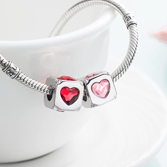 i'ange's 925 Sterling Silver Bead Charms with Authentic Swarovski Crystal