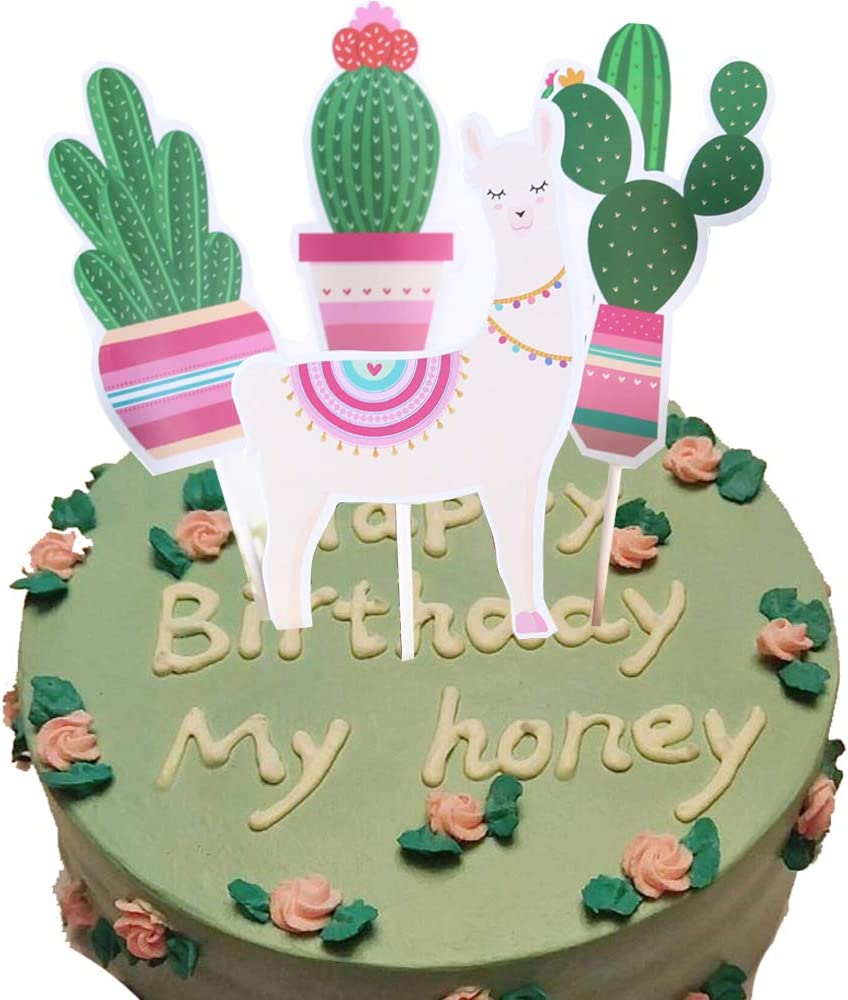 Aduck Llama Cactus Party Supplies Cake Toppers, Mexican Fiesta and Cino De Mayo Cactus Llama Themed Birthday Party Supplies Decorations, Party Cactus Baby Shower Succulent Party Home Decor, Pack of 5
