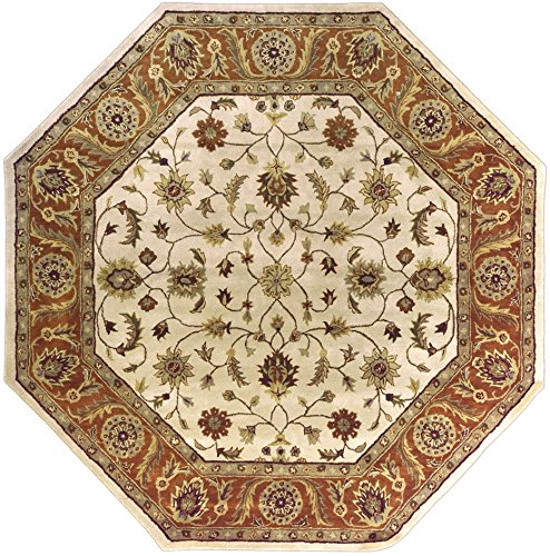 Surya Crowne 8' x 8' Hand Tufted Wool Rug in Neutral and Red (Ivory Red Octagon Rug)