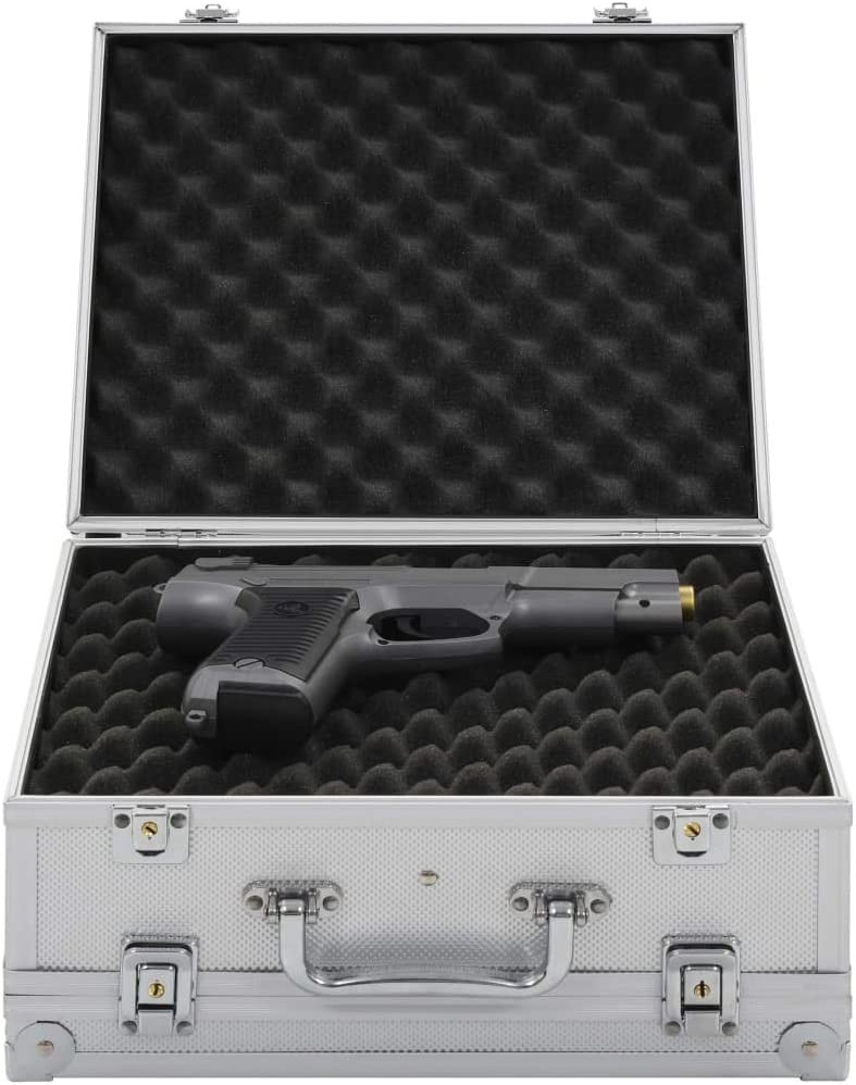 Festnight Maletín para Armas Pistolas Maleta con Cerradura de Combinación de Aluminio y ABS Plateado 31 x 26 x 15,2 cm