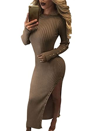 5c02d594f06 Women Elegant Long Sleeve Side Slit Beaded Bodycon Maxi Knit Cardigan  Sweater Dress  Amazon.co.uk  Clothing