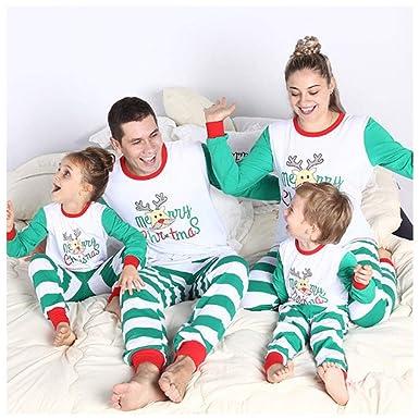 163d24db08 Hzjundasi Family Christmas Split Pyjamas - Xmas Printed Pyjamas Sleepwear  Long Sleeve + Trousers Set Christmas  Amazon.co.uk  Clothing