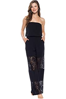 9e59a3bd4237f Becca by Rebecca Virtue Women s Lace Inset Strapless Jumpsuit Swim Cover Up