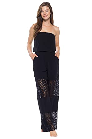 9e8c9fa0cb55 Becca by Rebecca Virtue Women s Lace Inset Strapless Jumpsuit Swim Cover Up  Black S