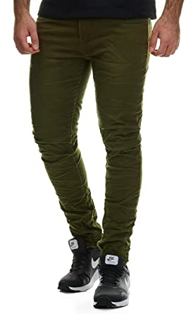 EightyFive Herren Denim Jeans-Hose Slim Fit Klassisch Schwarz Weiß Khaki  EF1515: Amazon.de: Bekleidung