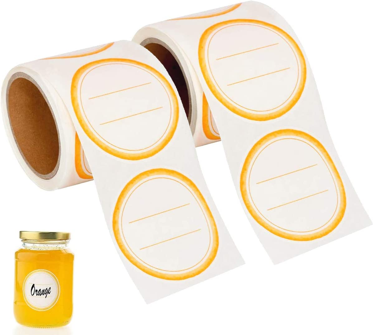 "200Pcs Canning Jar Dissolvable Labels, Canning Supplies Stickers, Homemade Food Storage Jam Labels for Mason Jar/Canning Lids, Canning Labels Wash Off in Seconds, (2"" Round-100pcs/roll) (Orange Peel)"