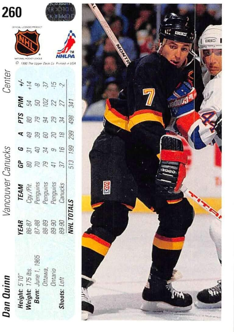 Amazon Com 1990 91 Upper Deck Hockey 90 91 Hockey Hologram 260 Dan Quinn Vancouver Canucks Vancouver Canucks Official Nhl Trading Card From The Premier Edition Of Ud Hockey Collectibles Fine Art