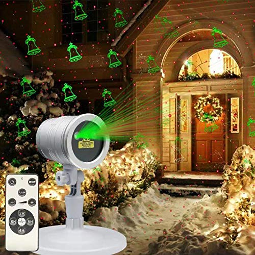 KSWIN Sliver Laser Lights Outdoor Patio Garden 5 Patterns Red&Green Waterproof Projector with Wireless Remote for Halloween Christmas Holiday