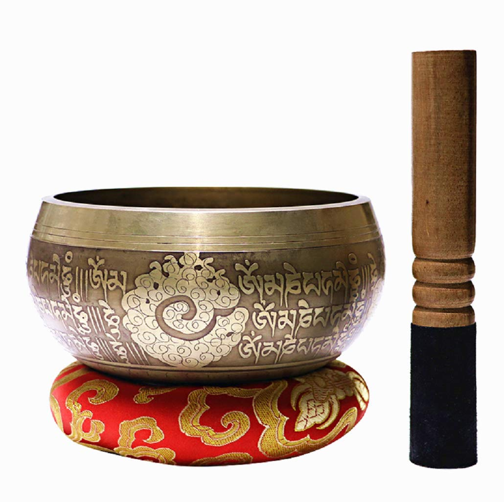 OVERWIND 5 Inch Tibetan Singing Bowl Set, Handcrafted in Nepal Meditation Sound Bowl with Mallet and Cushion for Prayer/Meditation/Yoga/Chakra Healing/Mindfulness/Decoration by OVERWIND