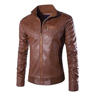 c0654529e Bonboho Homme Blouson Veste Motard Cuir Zippé Manteau Jacket Slim ...