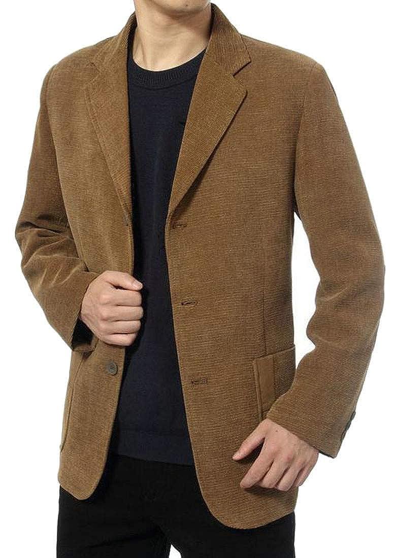 Macondoo Mens Sport Coat Single Breasted Notched Lapel Corduroy Blazer Jacket