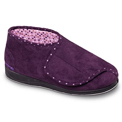 2f7ec52636e Padders Cherish Ladies Extra Wide Fit Velcro Full Slippers Purple