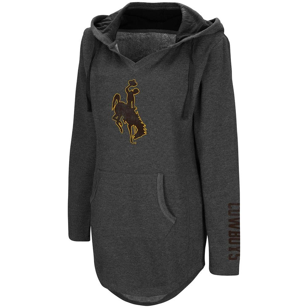 Womens Wyoming Cowboys Walkover V-Neck Tunic Pull-Over Hoodie - XL