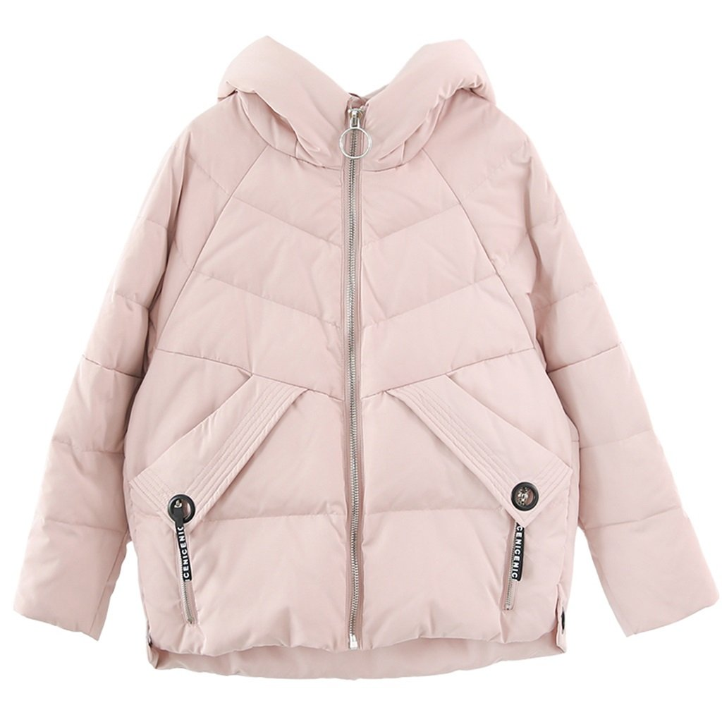 TSINY G Girls Solid Color Fashion Loose Hooded Down Jacket Winter Warm Comfort Short Coat ( Color : Pink , Size : S )