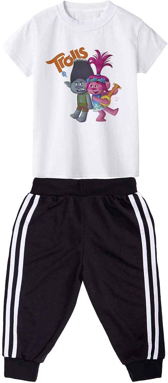 PCLOUD Trolls Cartoon Printing Short Sleeves T-Shirt Set Sports Suit