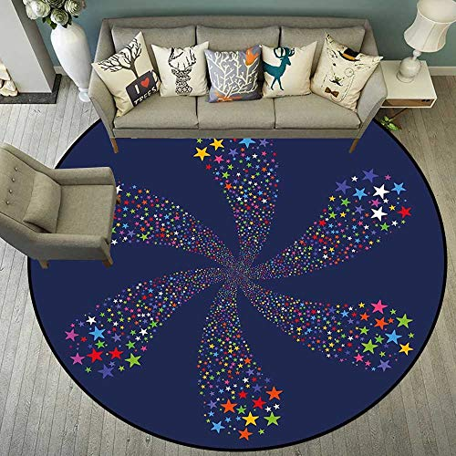 Circle Floor mat Computer Chair Carpet Round Indoor Floor mat Entrance Circle Floor mat for Office Chair Wood Floor Round mat for Living Room Pattern 4'7