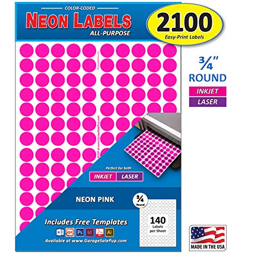 Pack of 2100 3/4 Round Color Coding Circle Dot Labels, Bright Neon Pink, 8 1/2 x 11 Sheet, Fits Any Printer....