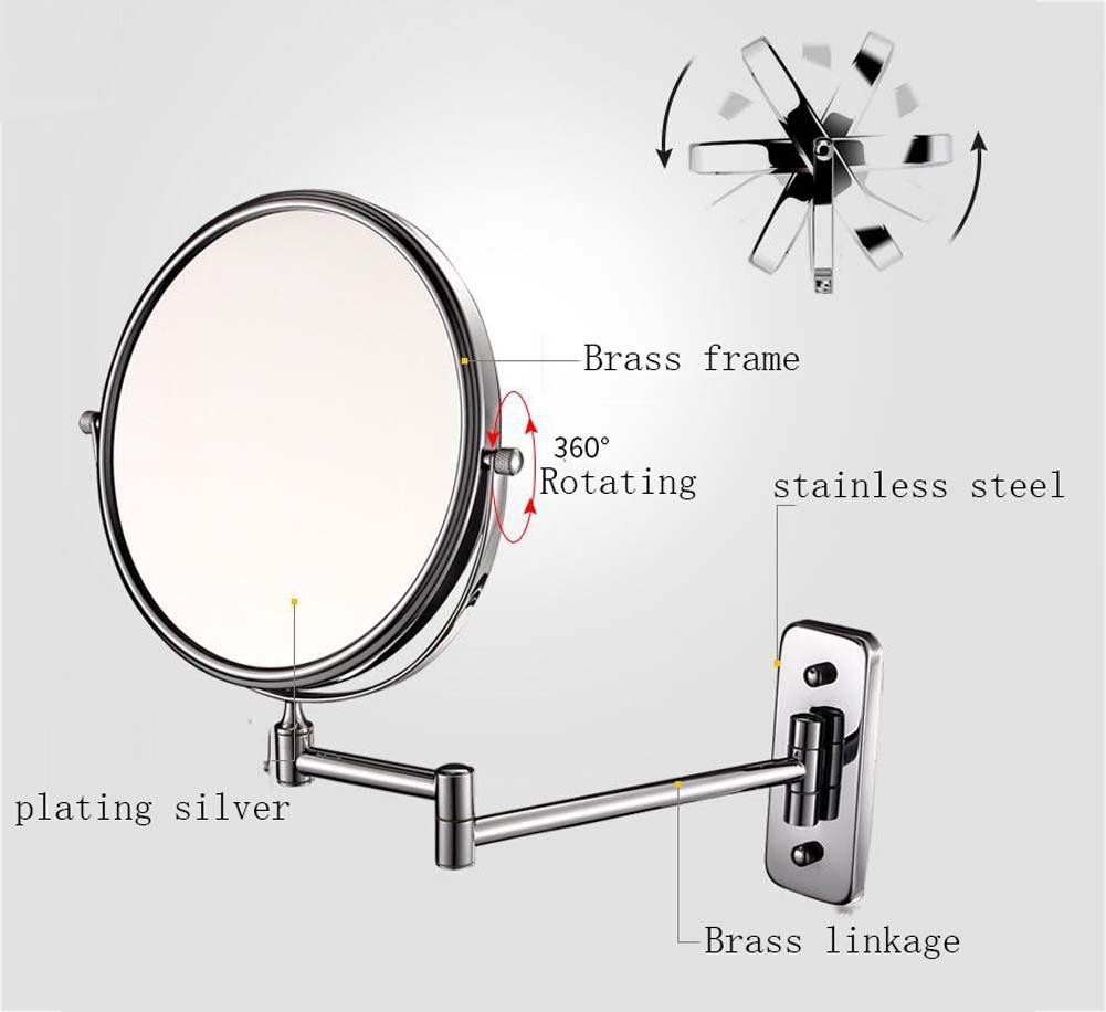 6/8-inch Bathroom Mirror Double Sided Makeup Mirror 3X, 5X,7X,10X/1X Magnification Wall Mounted Vanity Magnifying Mirror Swivel, Extendable For Bath, Spa And Hotel ( Design : 5x , Size : 6-inch ) by GAOLIQIN (Image #2)