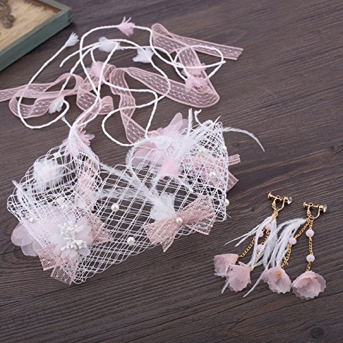 (Olici Headdress Accessories/Hair Pins/Party/Prom/Bride/Girls Marriage Yarn Korean Sweet Pink Flower Ribbon Gauze Mori Earrings Marriage Yarn Hair Ornaments)