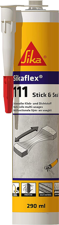 Sikaflex - 111 Stick&Seal, Masilla multiuso, Adhesivo sellador, 290 cm3, Gris