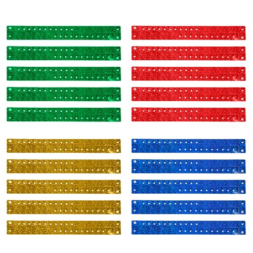 ((Price/100 Pcs) GOGO Holographic Wristband, Security ID Wristbands, Party Favors-Assorted)