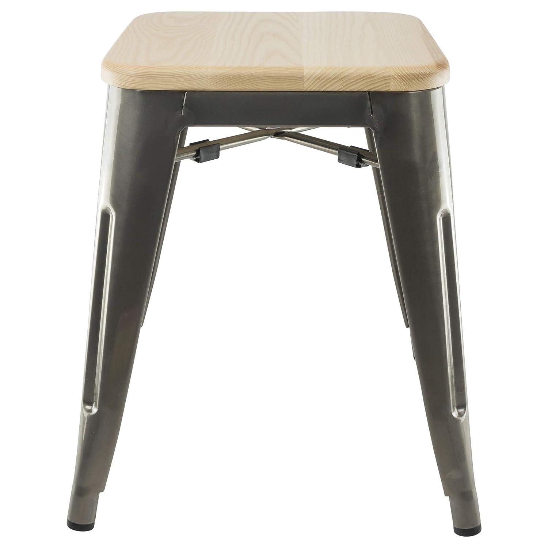 Designer StuhlIndustrieller Hocker - Raues Grau, Sitzfläche Holz, 45 ...