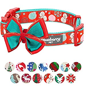 "Blueberry Pet 14 Patterns Moments of Excitement Snowman Making Christmas Designer Dog Collar, Large, Neck 18""-26"", Adjustable Collars for Dogs"