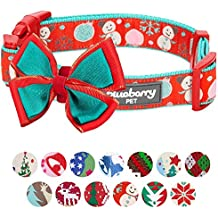 """Blueberry Pet 14 Patterns Moments of Excitement Snowman Making Christmas Designer Dog Collar, Large, Neck 18""""-26"""", Adjustable Collars for Dogs"""