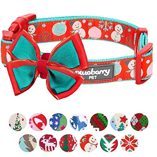 "Blueberry Pet 14 Patterns Moments of Excitement Snowman Making Christmas Designer Dog Collar, Small, Neck 12""-16"", Adjustable Collars for Dogs"