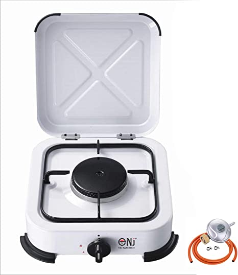 nj-01 portátil único quemador de gas estufa Camping esmalte tapa bolsa de transporte + butano regulador de Gas