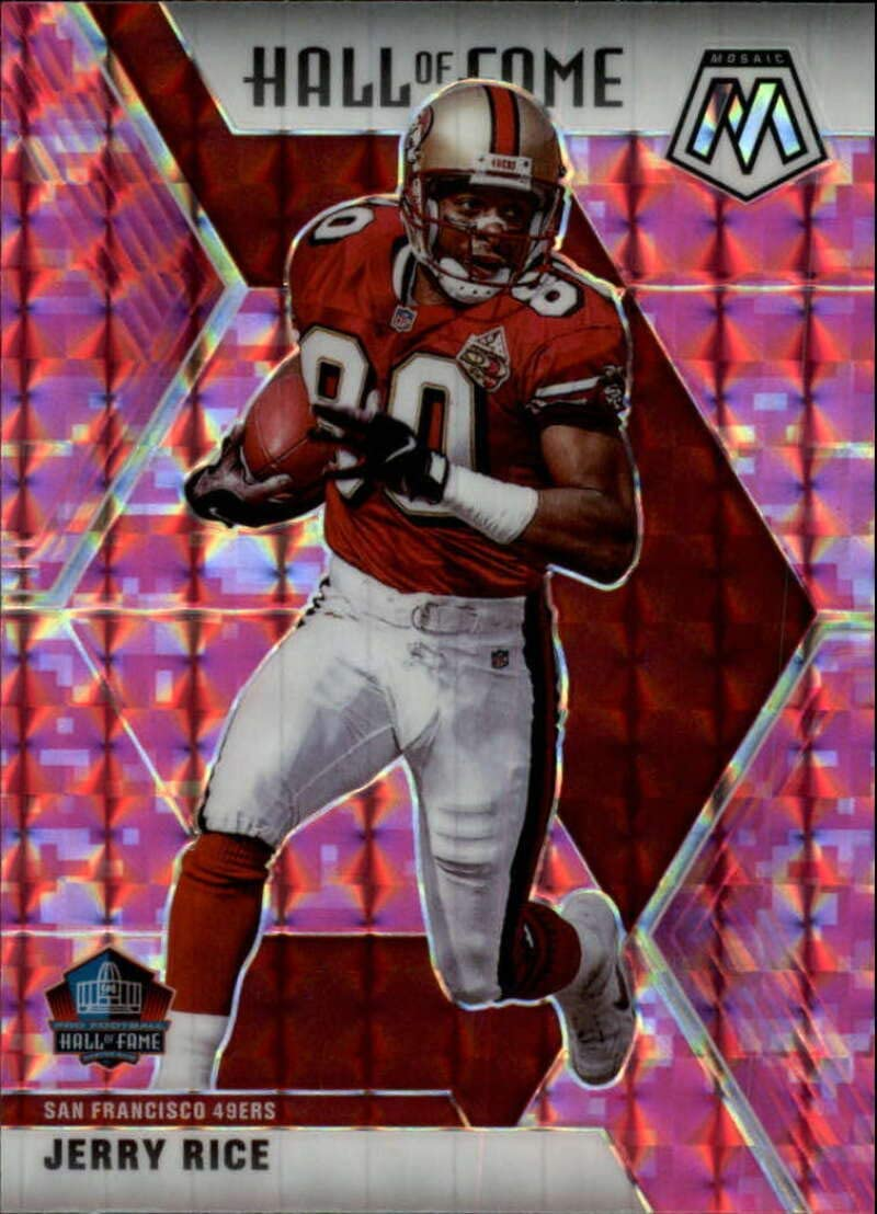Amazon Com 2020 Mosaic Football Prizm Camo Pink 287 Jerry Rice San Francisco 49ers Official Panini Nfl Trading Card Collectibles Fine Art