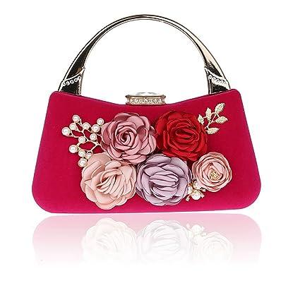 TOPCHANCES Women 3D Flower Elegant Satin Clutches Evening Bags Handbags  Wedding Clutch Purse Rhinestone Pearl Beaded