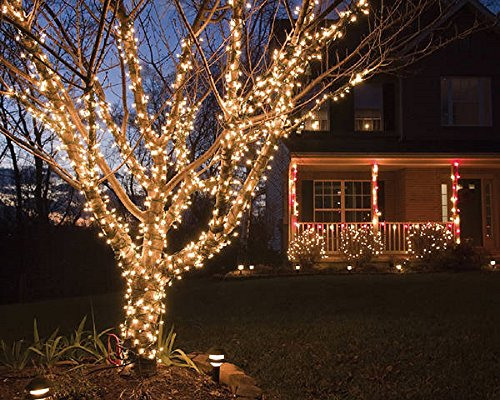 100 Clear Christmas Lights Set with White Wire Professional Grade Static and Flashing Decorative Lights for Indoor and Outdoor Use UL Listed by Holiday Essence by Holiday Essence (Image #1)
