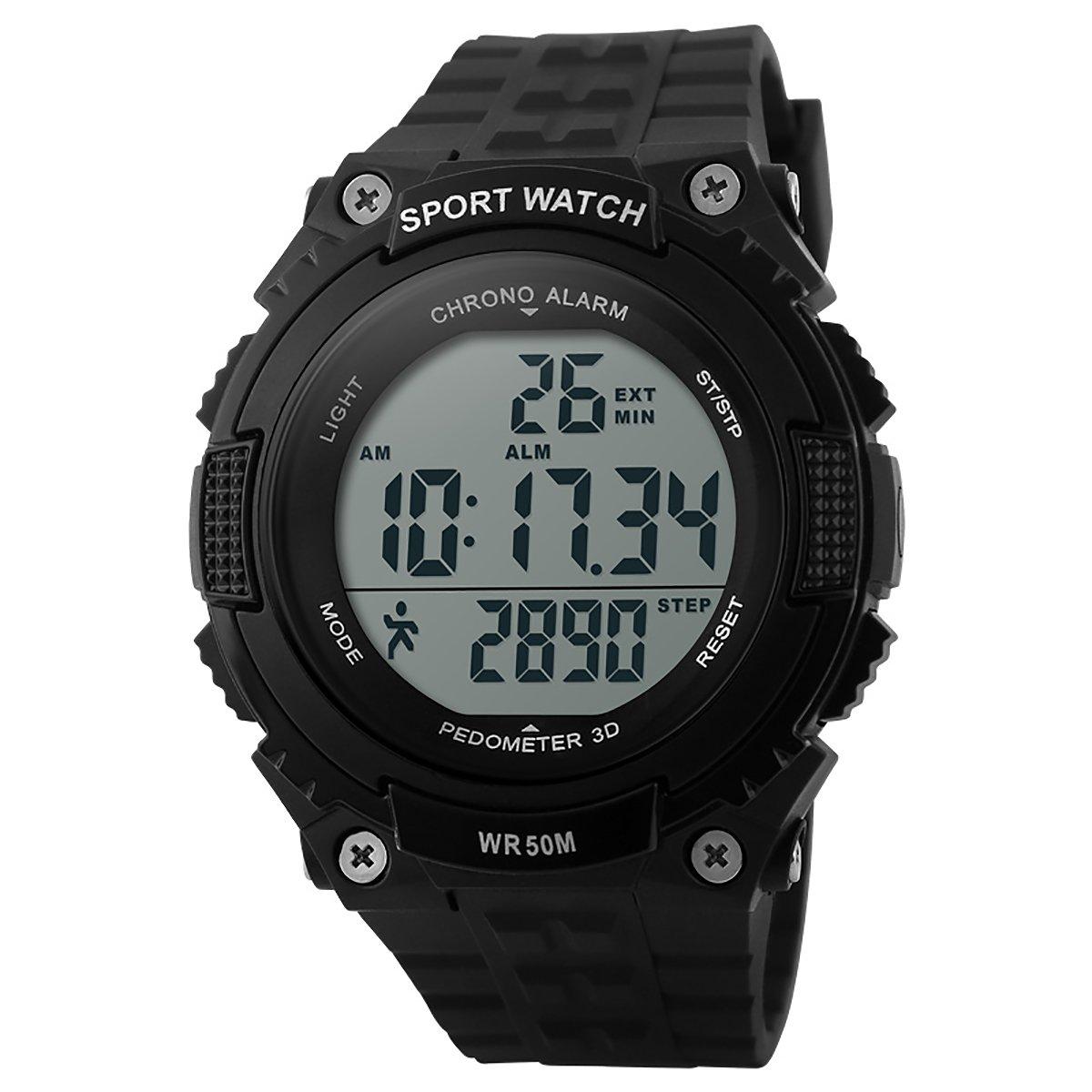 lancardo reloj hombre electrónica multifuncional reloj Digital reloj impermeable podómetro cronómetro