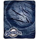 MLB Milwaukee Brewers Raschel Plush Throw Blanket, Retro Design